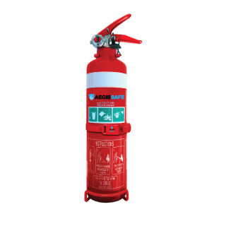 1kg Dry Chemical Powder Fire Extinguisher w Hose Vehicle Bracket
