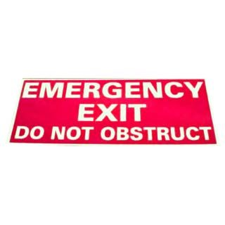 mergency Exit Do Not Obstruct Sign Red